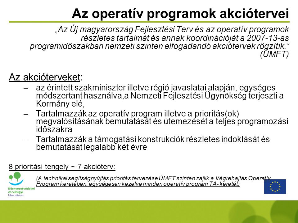 Az operatív programok akciótervei