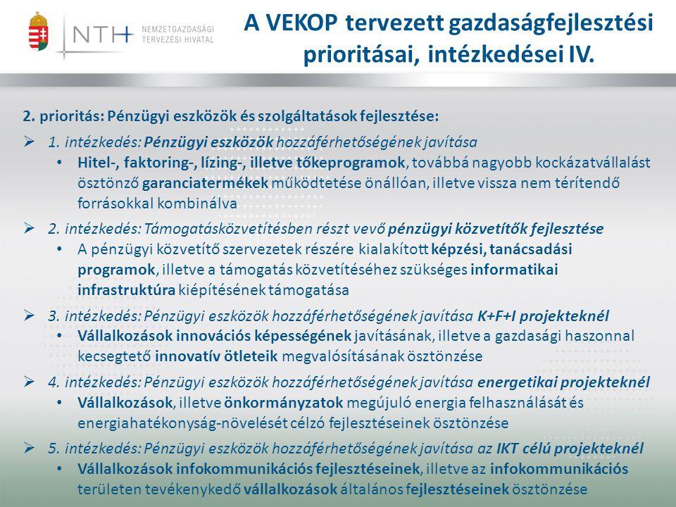 A VEKOP tervezett gazdaságfejlesztési prioritásai, intézkedései IV.