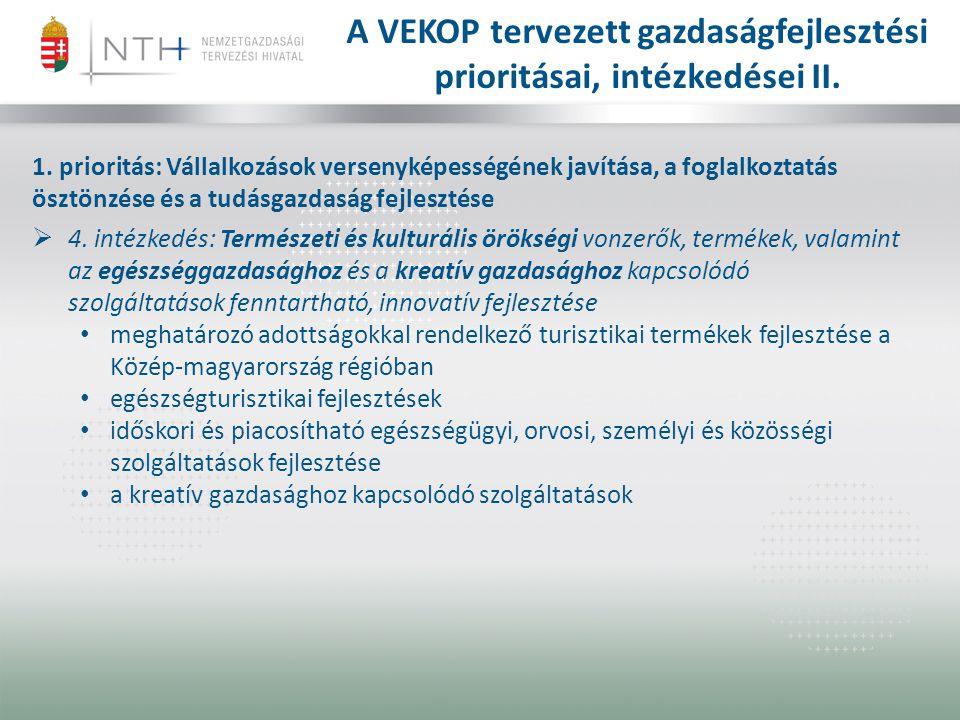 A VEKOP tervezett gazdaságfejlesztési prioritásai, intézkedései II.