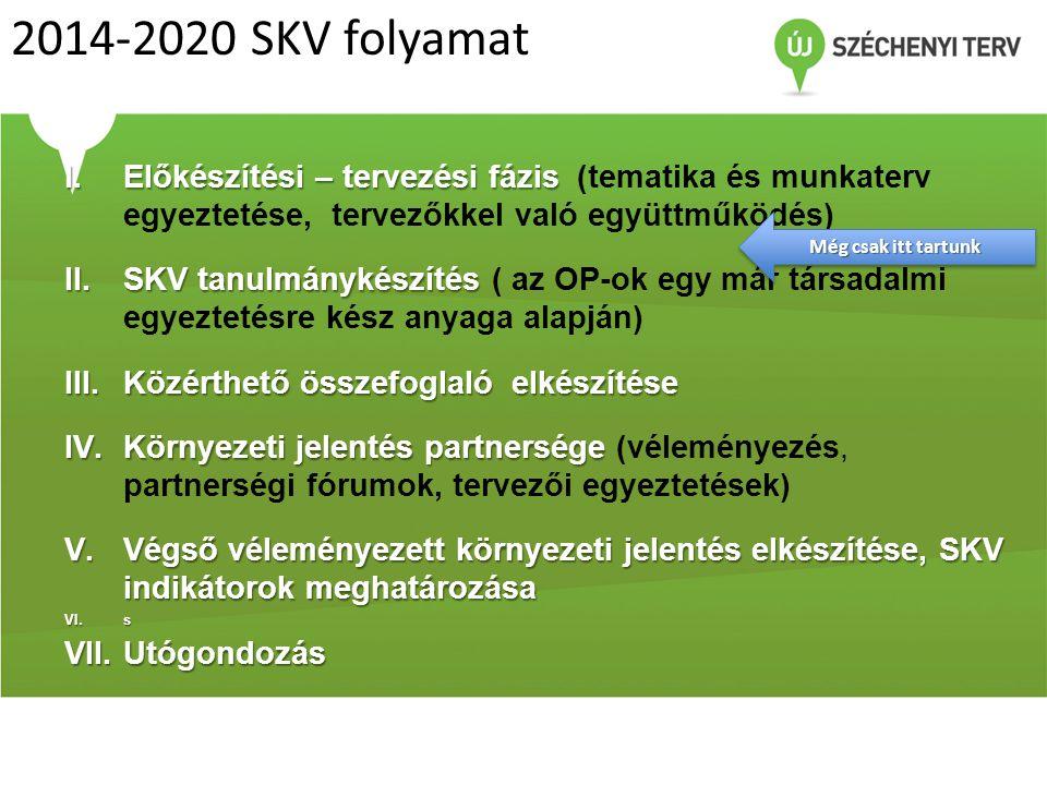 2014-2020 SKV folyamat Előkészítési – tervezési fázis (tematika és munkaterv egyeztetése, tervezőkkel való együttműködés)