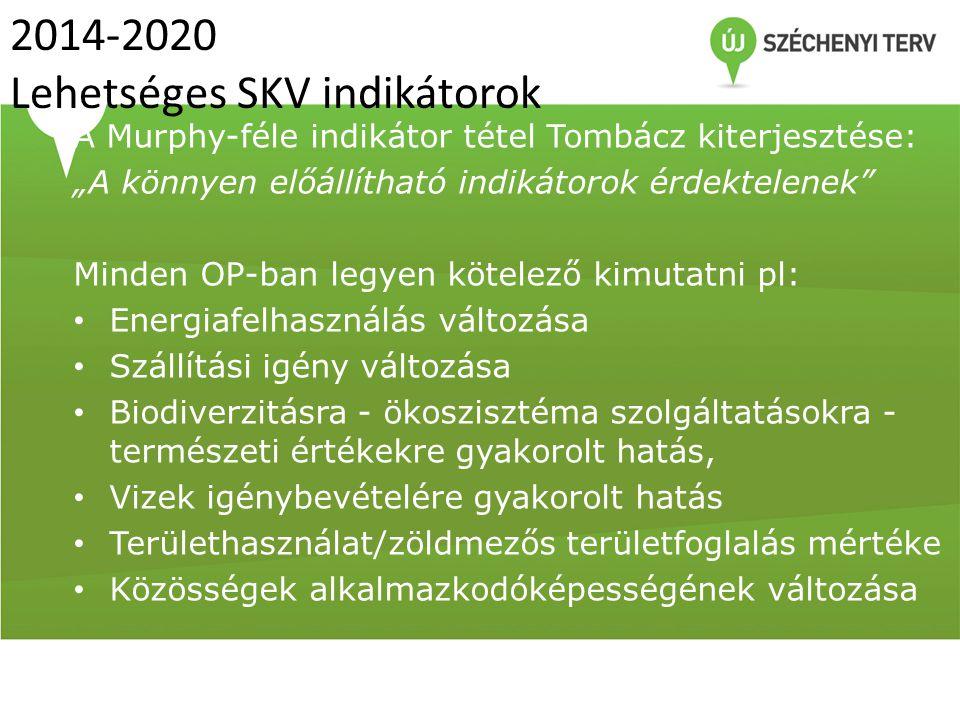 2014-2020 Lehetséges SKV indikátorok