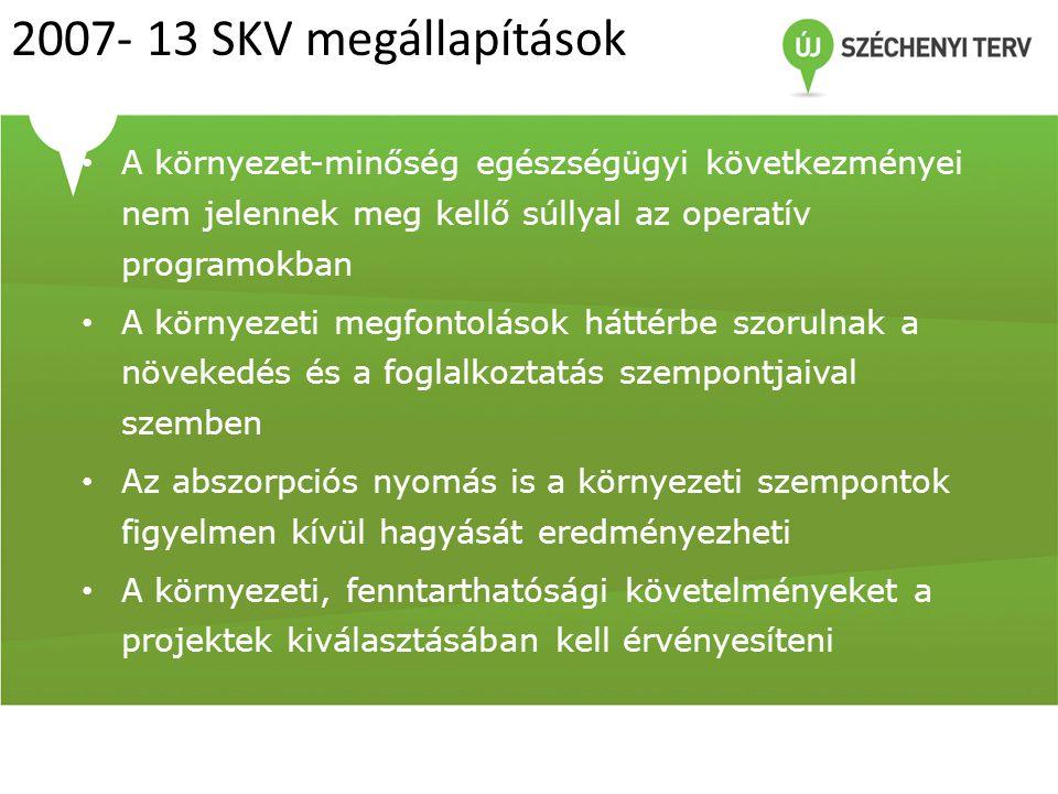 2007- 13 SKV megállapítások A környezet-minőség egészségügyi következményei nem jelennek meg kellő súllyal az operatív programokban.
