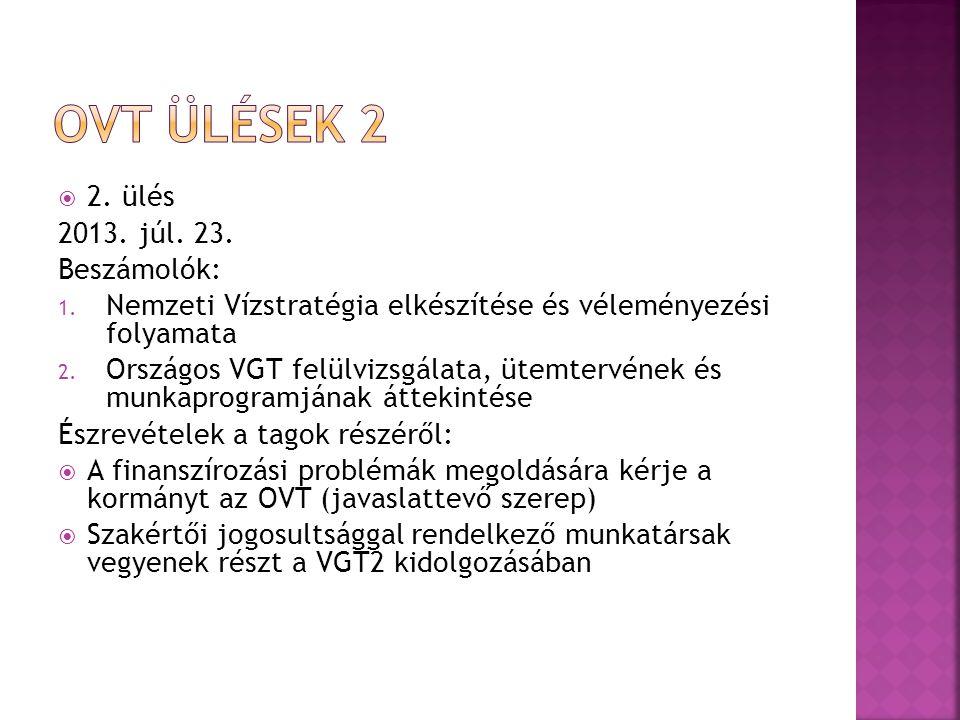 Ovt ülések 2 2. ülés 2013. júl. 23. Beszámolók: