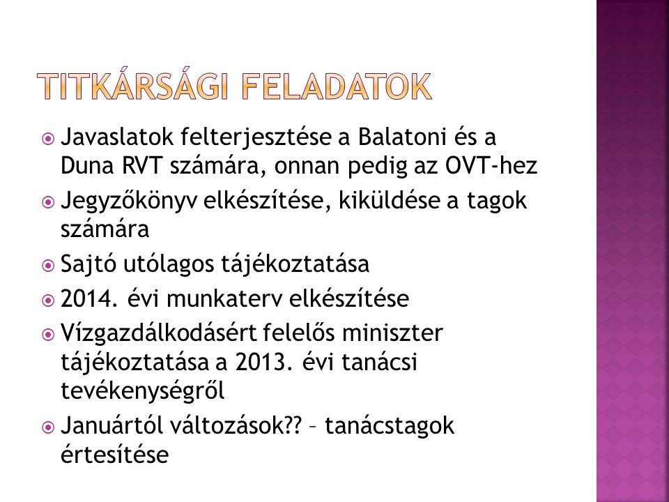 Titkársági feladatok Javaslatok felterjesztése a Balatoni és a Duna RVT számára, onnan pedig az OVT-hez.