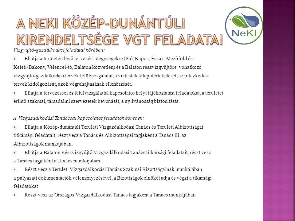 A NEKI Közép-dunántúli Kirendeltsége VGT feladatai