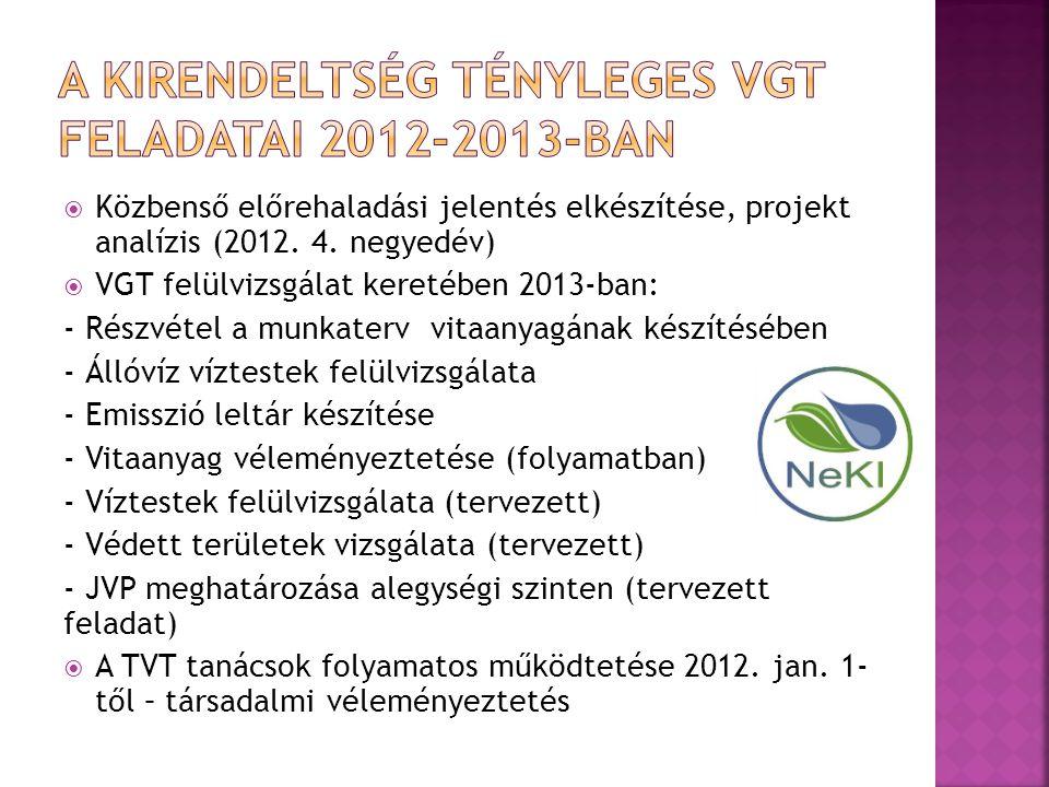 A Kirendeltség tényleges VGT feladatai 2012-2013-ban