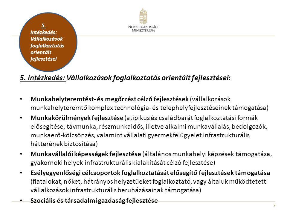 5. intézkedés: Vállalkozások foglalkoztatás orientált fejlesztései:
