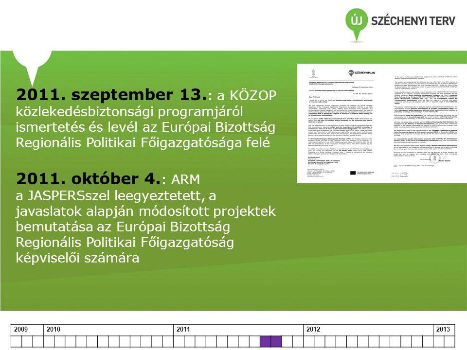 2011. szeptember 13.: a KÖZOP közlekedésbiztonsági programjáról ismertetés és levél az Európai Bizottság Regionális Politikai Főigazgatósága felé 2011. október 4.: ARM a JASPERSszel leegyeztetett, a javaslatok alapján módosított projektek bemutatása az Európai Bizottság Regionális Politikai Főigazgatóság képviselői számára