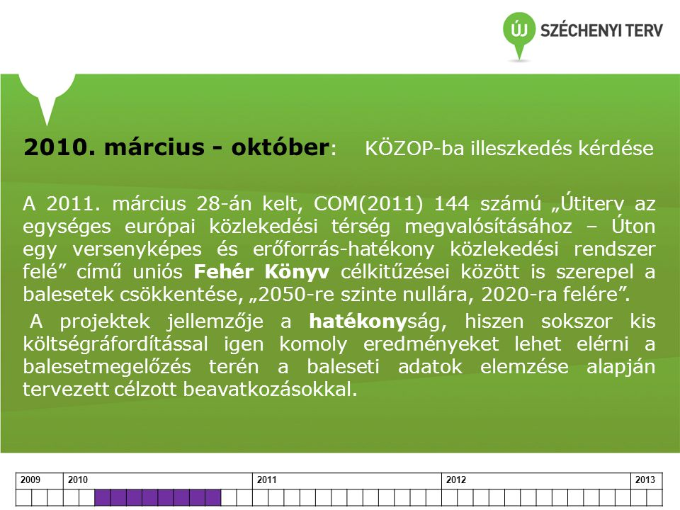 2010. március - október: KÖZOP-ba illeszkedés kérdése