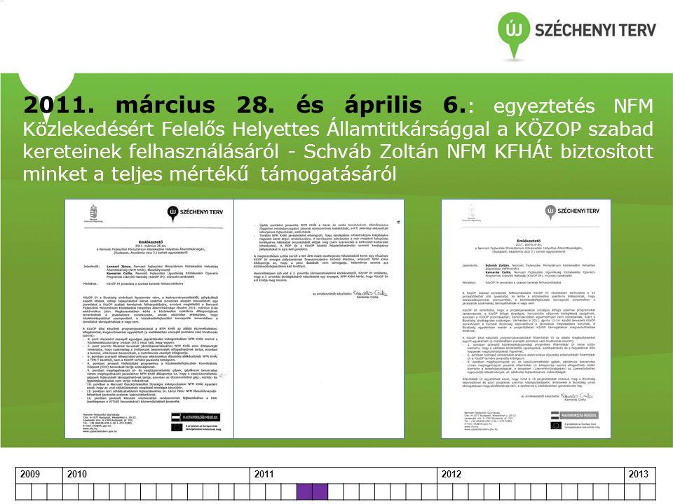 2011. március 28. és április 6.: egyeztetés NFM Közlekedésért Felelős Helyettes Államtitkársággal a KÖZOP szabad kereteinek felhasználásáról - Schváb Zoltán NFM KFHÁt biztosított minket a teljes mértékű támogatásáról