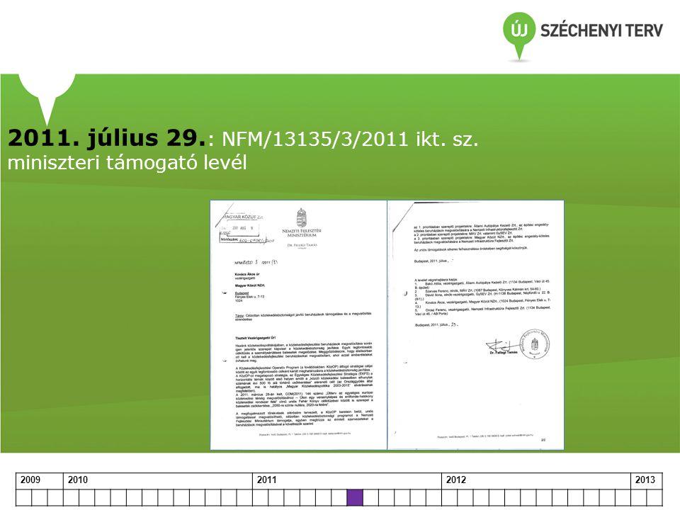 2011. július 29.: NFM/13135/3/2011 ikt. sz. miniszteri támogató levél