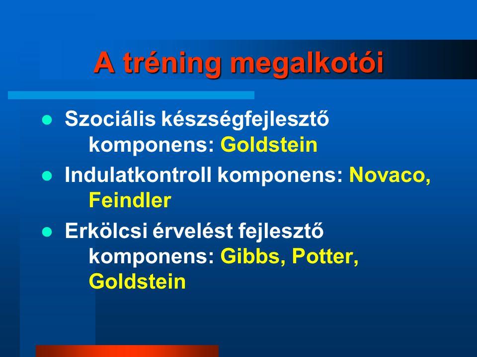 A tréning megalkotói Szociális készségfejlesztő komponens: Goldstein