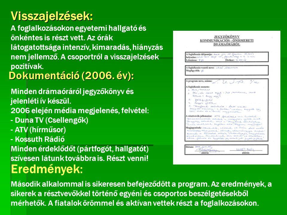Visszajelzések: Eredmények: Dokumentáció (2006. év):
