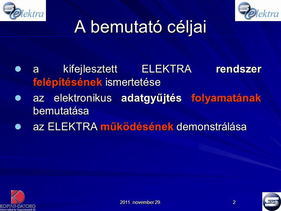 A bemutató céljai a kifejlesztett ELEKTRA rendszer felépítésének ismertetése. az elektronikus adatgyűjtés folyamatának bemutatása.