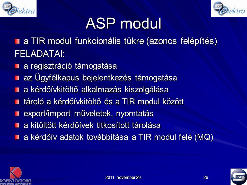 ASP modul a TIR modul funkcionális tükre (azonos felépítés) FELADATAI: