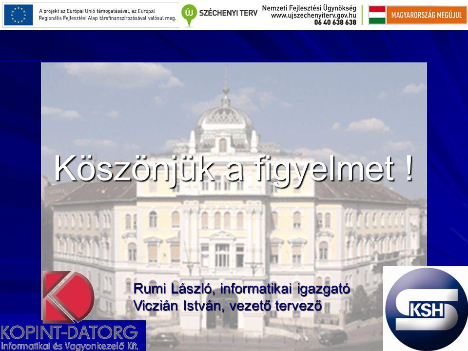 Köszönjük a figyelmet . Rumi László, informatikai igazgató Viczián István, vezető tervező.