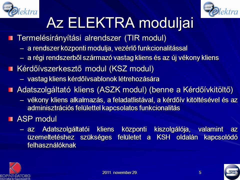 Az ELEKTRA moduljai Termelésirányítási alrendszer (TIR modul)