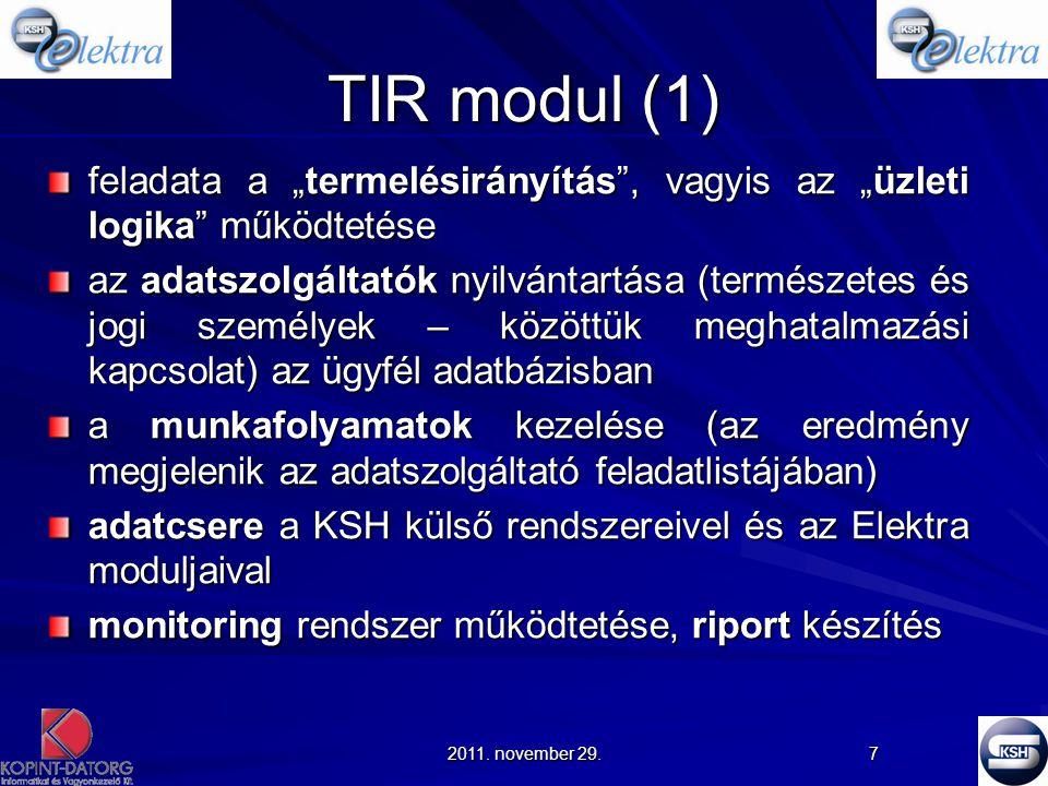"""TIR modul (1) feladata a """"termelésirányítás , vagyis az """"üzleti logika működtetése."""