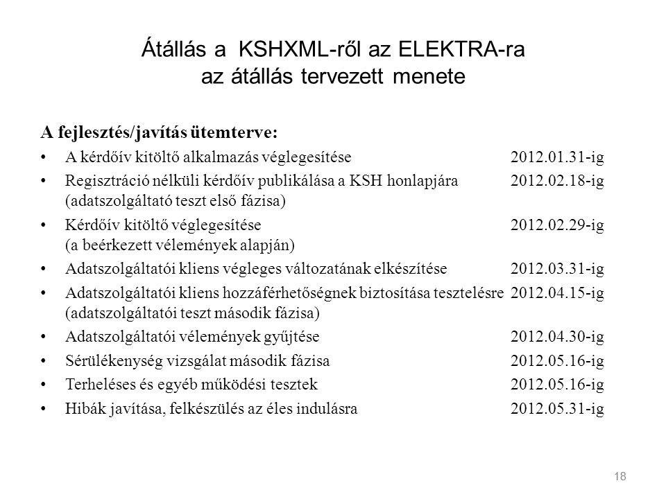 Átállás a KSHXML-ről az ELEKTRA-ra az átállás tervezett menete