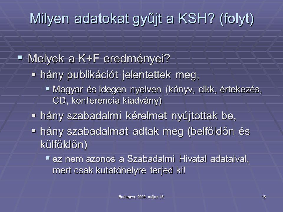 Milyen adatokat gyűjt a KSH (folyt)
