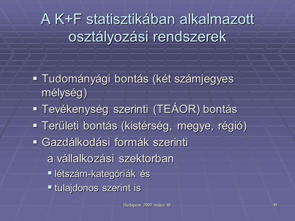 A K+F statisztikában alkalmazott osztályozási rendszerek