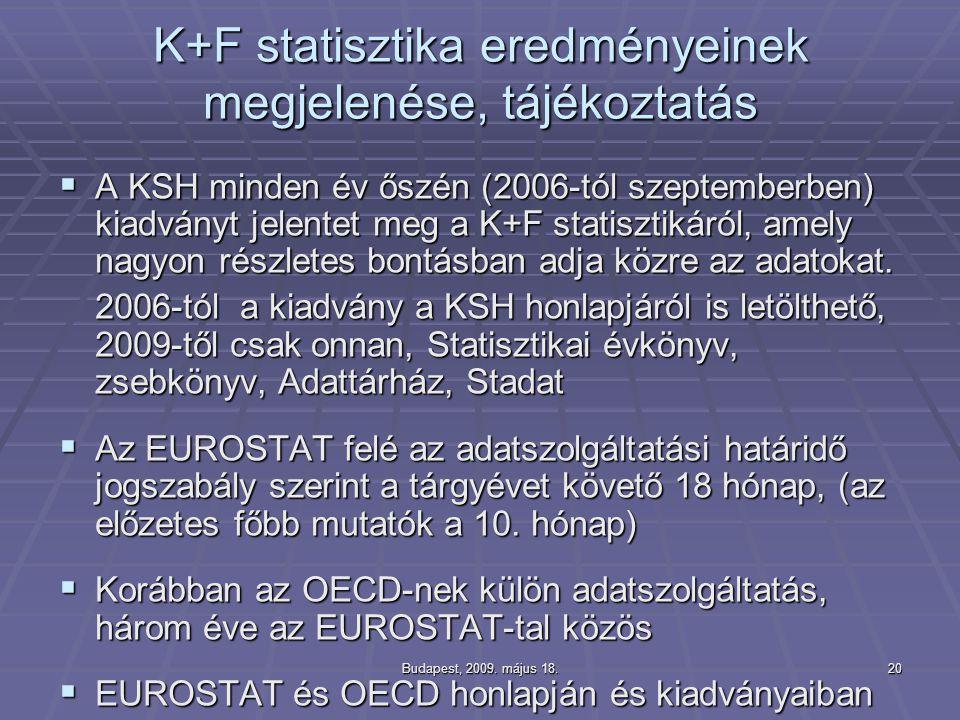 K+F statisztika eredményeinek megjelenése, tájékoztatás