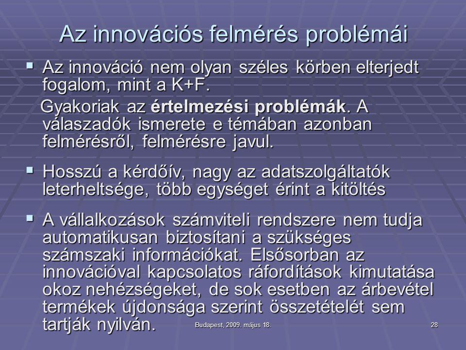 Az innovációs felmérés problémái