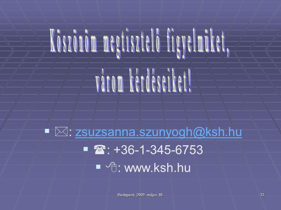 : zsuzsanna.szunyogh@ksh.hu : +36-1-345-6753 : www.ksh.hu