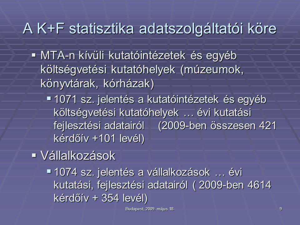 A K+F statisztika adatszolgáltatói köre