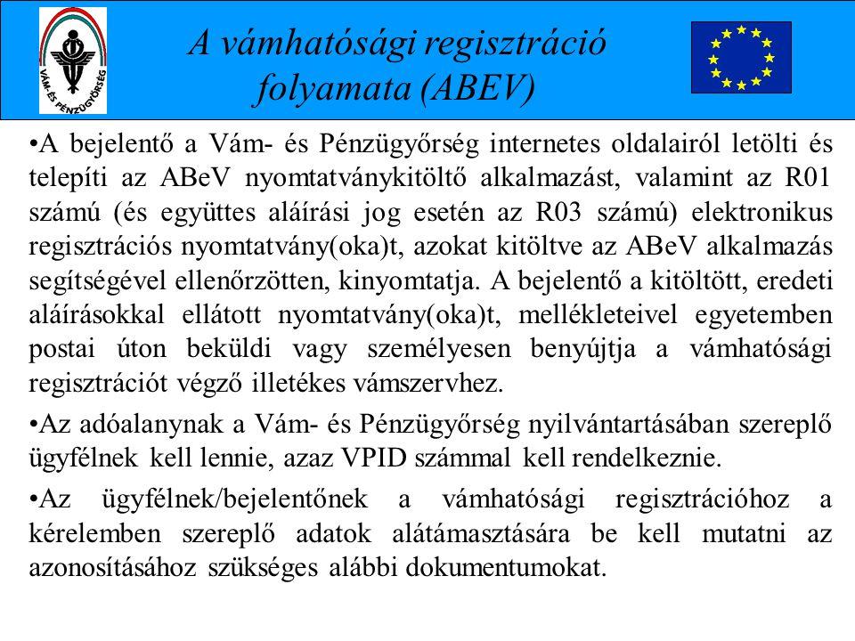 A vámhatósági regisztráció folyamata (ABEV)