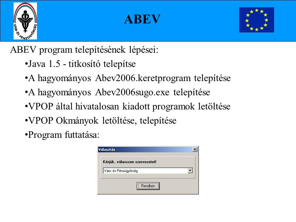 ABEV ABEV program telepítésének lépései: