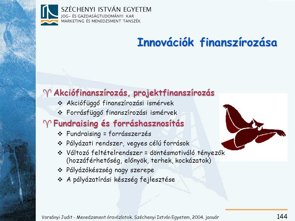 A stratégia finanszírozásának célterületei