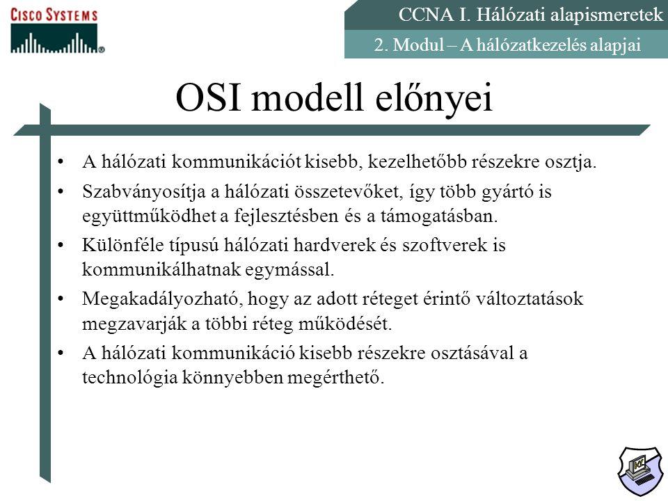 OSI modell előnyei A hálózati kommunikációt kisebb, kezelhetőbb részekre osztja.