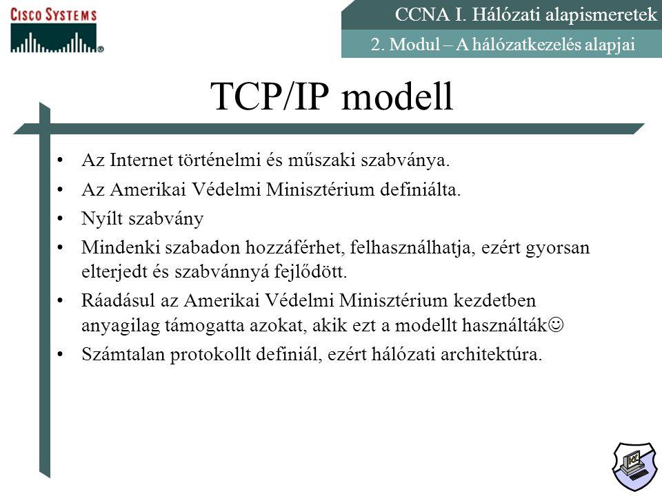 TCP/IP modell Az Internet történelmi és műszaki szabványa.