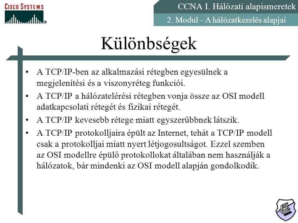 Különbségek A TCP/IP-ben az alkalmazási rétegben egyesülnek a megjelenítési és a viszonyréteg funkciói.