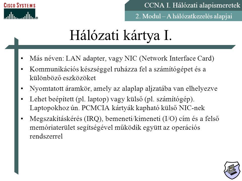 Hálózati kártya I. Más néven: LAN adapter, vagy NIC (Network Interface Card)