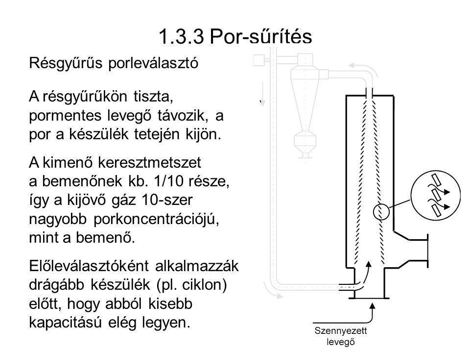 1.3.3 Por-sűrítés Résgyűrűs porleválasztó