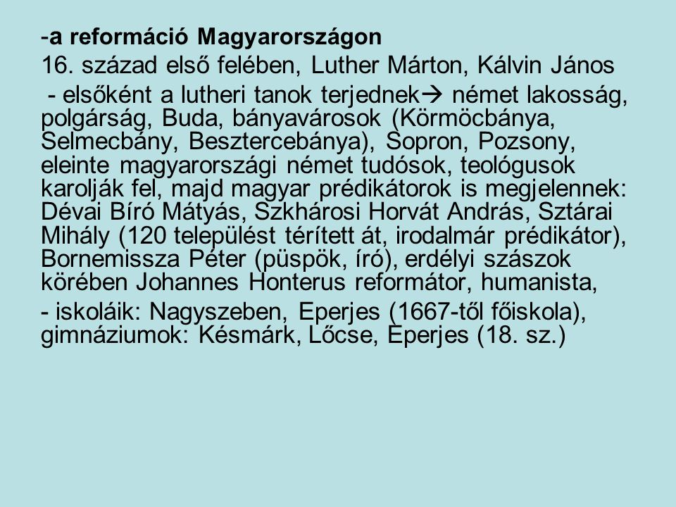 a reformáció Magyarországon