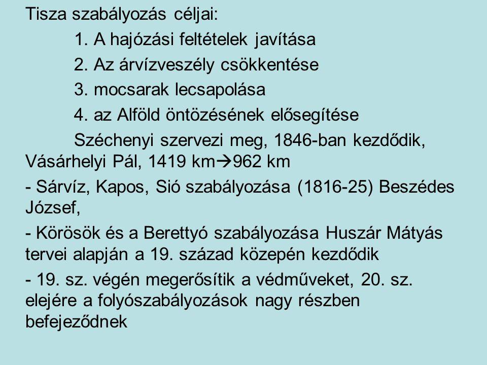 Tisza szabályozás céljai: