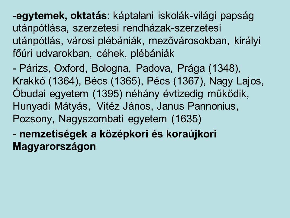 egytemek, oktatás: káptalani iskolák-világi papság utánpótlása, szerzetesi rendházak-szerzetesi utánpótlás, városi plébániák, mezővárosokban, királyi főúri udvarokban, céhek, plébániák