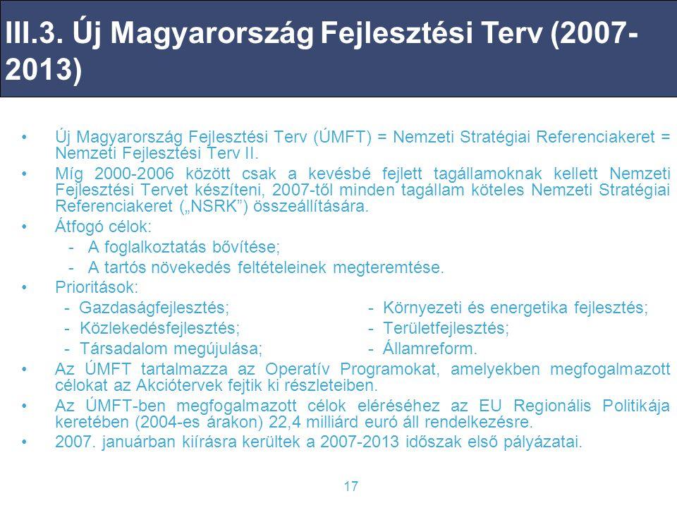 III.3. Új Magyarország Fejlesztési Terv (2007-2013)