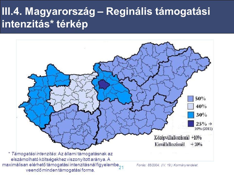 III.4. Magyarország – Reginális támogatási intenzitás* térkép