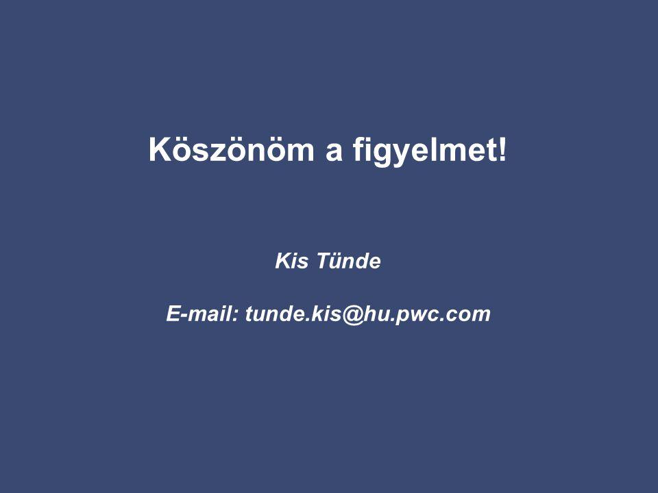 Köszönöm a figyelmet! Kis Tünde E-mail: tunde.kis@hu.pwc.com