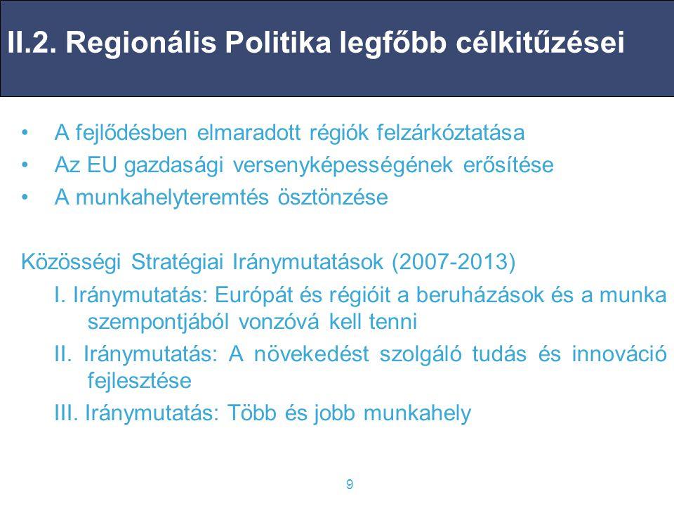 II.2. Regionális Politika legfőbb célkitűzései