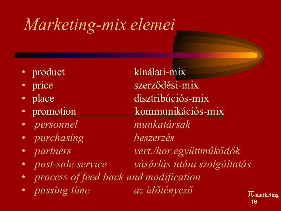 Marketing-mix elemei -marketing product kínálati-mix