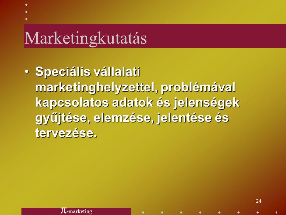 Marketingkutatás Speciális vállalati marketinghelyzettel, problémával kapcsolatos adatok és jelenségek gyűjtése, elemzése, jelentése és tervezése.