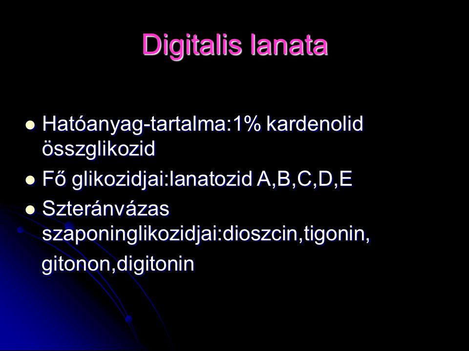 Digitalis lanata Hatóanyag-tartalma:1% kardenolid összglikozid