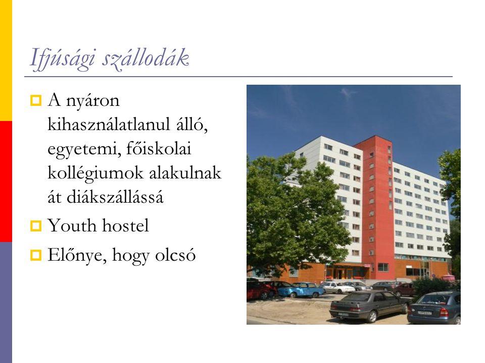 Ifjúsági szállodák A nyáron kihasználatlanul álló, egyetemi, főiskolai kollégiumok alakulnak át diákszállássá.