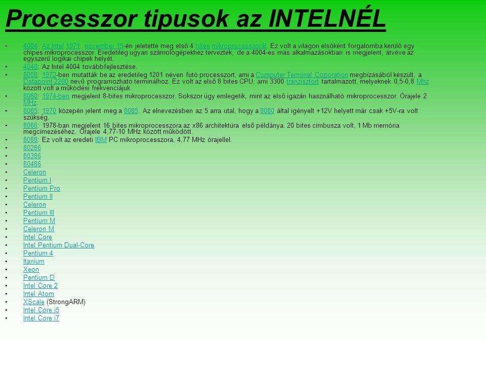Processzor tipusok az INTELNÉL