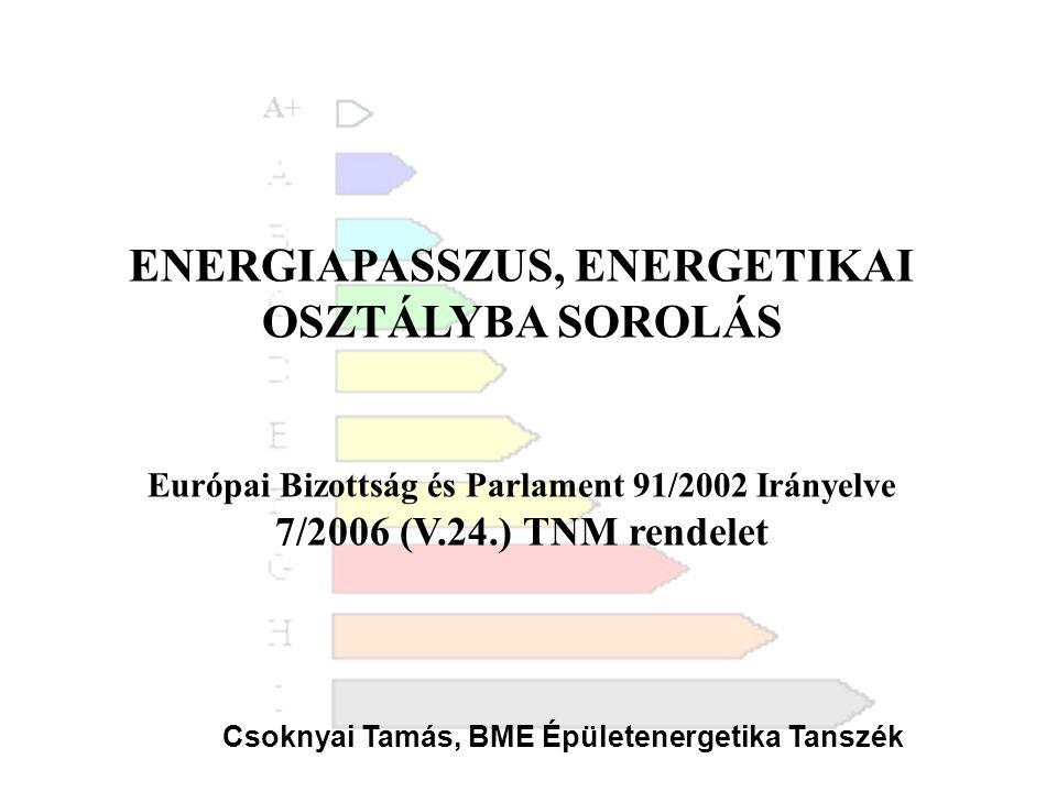 ENERGIAPASSZUS, ENERGETIKAI OSZTÁLYBA SOROLÁS